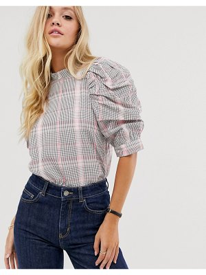 Other Stories &  plaid puff short-sleeve blouse in pink-multi