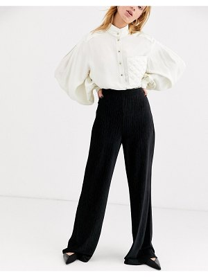 Other Stories &  plisse wide leg pants in black