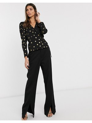 Other Stories &  print spot wrap blouse in black