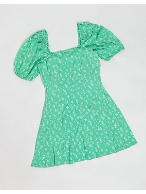 Other Stories &  puff sleeve mini wrap dress in green floral-black