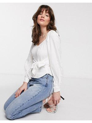 Other Stories &  puff sleeve tie-waist blouse in white