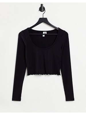 Other Stories &  recycled 3 piece frill edge jersey top in black