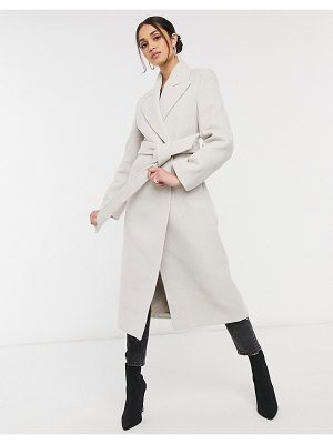Other Stories &  recycled long belted wool coat with shoulder pads in beige