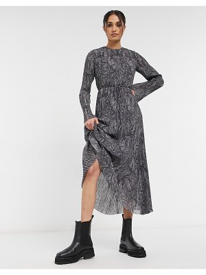 Other Stories &  recycled marble print plisse maxi dress in gray-grey