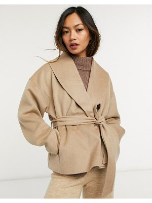 Other Stories &  recycled wool cropped tie waist jacket in camel-beige