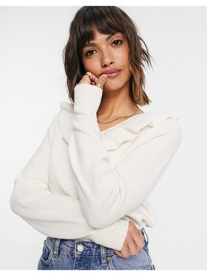 Other Stories &  recycled wool ruffle neck line knit sweater in off-white