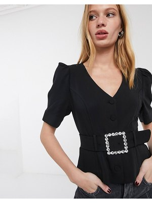 Other Stories &  rhinestone buckle short sleeve blouse in black