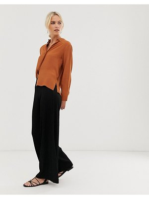 Other Stories &  ribbed wide leg flare pants in black