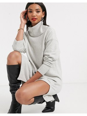Other Stories &  rollneck sweater dress in gray melange-blue