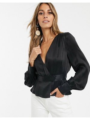 Other Stories &  satin wrap blouse in black