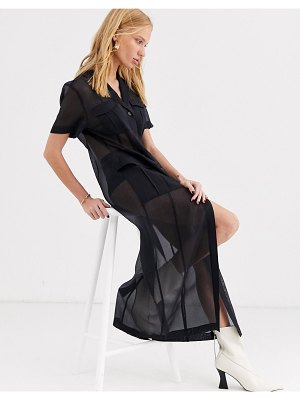 Other Stories &  sheer pocket-detail midi dress in black