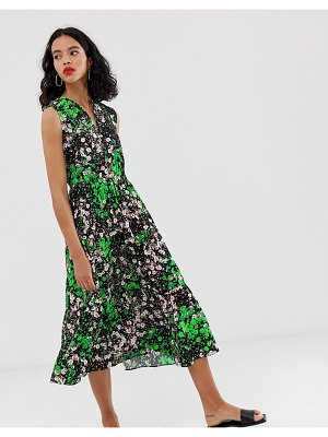Other Stories &  sleeveless midi smock dress in floral print-multi
