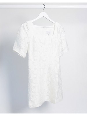 Other Stories &  square neck lace mini dress in white