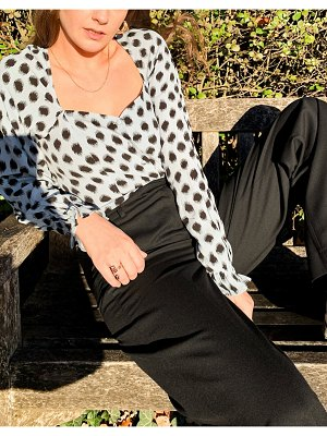 Other Stories &  square neck puff sleeve blouse in blue with black dots-multi