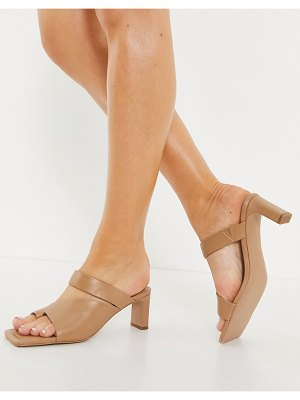 Other Stories &  square toe heeled leather sandals in beige-neutral
