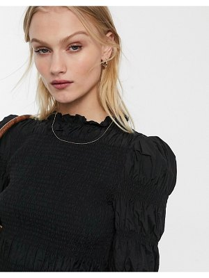 Other Stories &  taffeta smocked high neck blouse in black