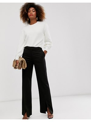 Other Stories &  tailored pants with front slit in black