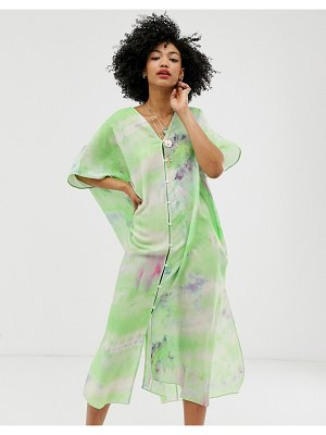 Other Stories &  tie dye button through caftan dress in green