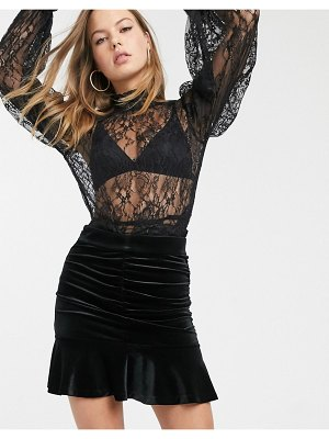 Other Stories &  velvet ruched mini skirt in black