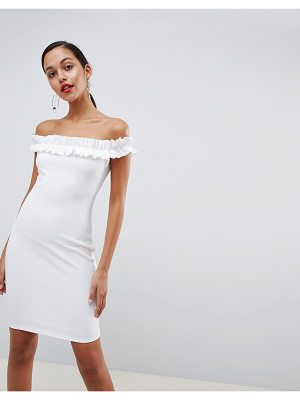 Outrageous Fortune bardot ruffle detail bodycon dress in white
