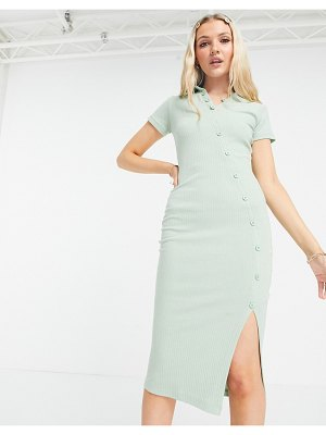 Outrageous Fortune button through midi dress in sage-green