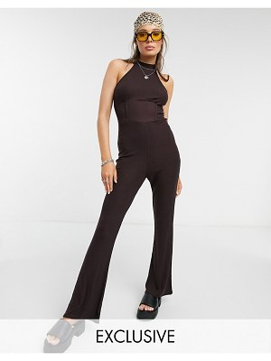 Outrageous Fortune exclusive high neck flared jumpsuit in rich chocolate-brown