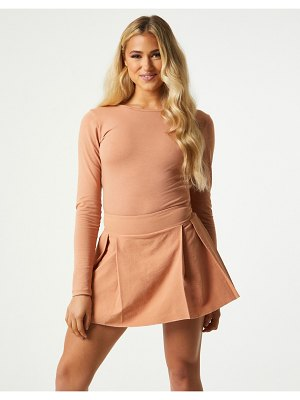 Outrageous Fortune exclusive pleated mini skort in camel-brown