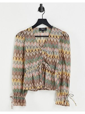 Outrageous Fortune knitted top in geo print
