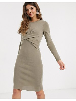 Outrageous Fortune knitted wrapover midi pencil dress in khaki-green