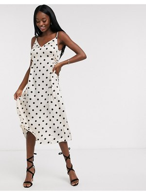 Outrageous Fortune midi slip dress with lace up side detail in cream polka-multi