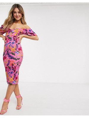 Outrageous Fortune off shoulder knot front midi pencil dress in pink floral print-multi