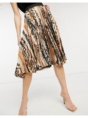 Outrageous Fortune pleated maxi skirt in animal print-multi