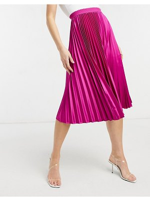 Outrageous Fortune pleated maxi skirt in fuschia print-pink