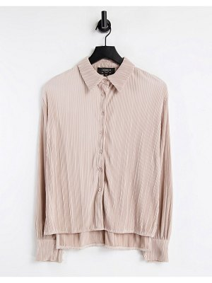 Outrageous Fortune plisse shirt in blush pink