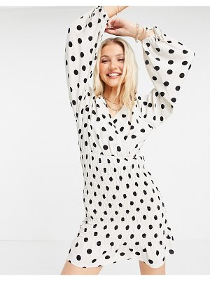 Outrageous Fortune polka dot mini dress with balloon sleeves-multi