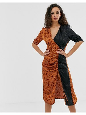 Outrageous Fortune ruched midi dress in mixed leopard print-multi