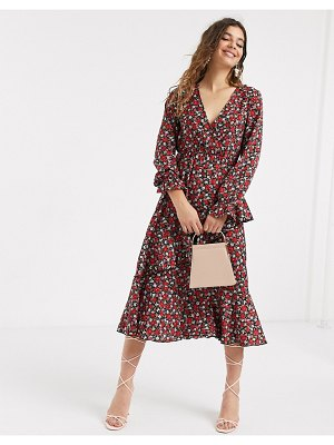 Outrageous Fortune ruffle front shirred sleeve midi dress in rose ditsy print-multi