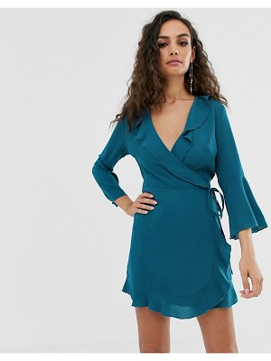 Outrageous Fortune ruffle wrap dress with fluted sleeve in pale blue