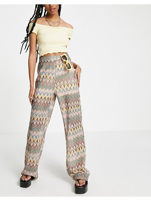 Outrageous Fortune set knitted wide leg pants in geo print-multi