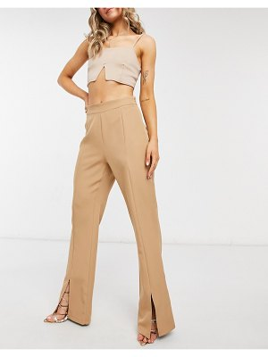 Outrageous Fortune split front pants in camel set-brown