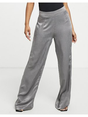 Outrageous Fortune wide leg pants in charcoal satin-grey