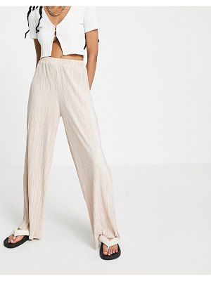 Outrageous Fortune wide leg plisse pant in blush pink