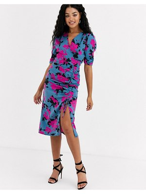 Outrageous Fortune wrap front ruched midi dress in contrast floral print-multi