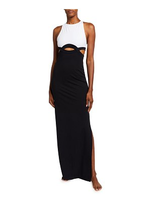 OYE Swimwear Elvan Two-Tone Cutout Column Maxi Dress