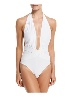 OYE Swimwear Roman Plunge-Neck One-Piece Swimsuit