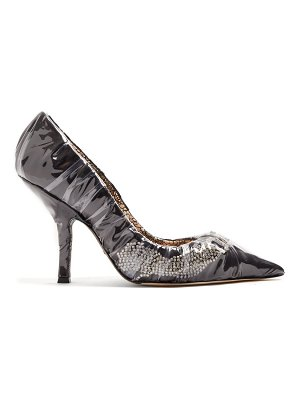 Midnight 00 iconic crystal embellished satin & pvc pumps
