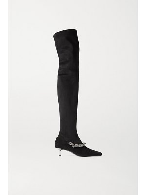 Paciotti embellished faux suede over-the-knee boots