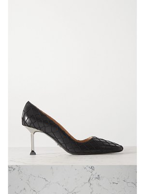 Paciotti leather and fishnet pumps