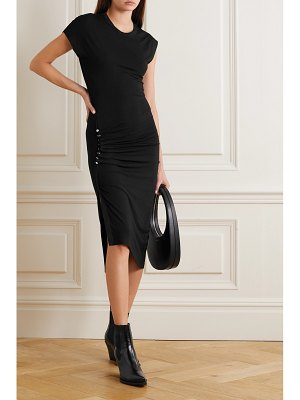 Paco Rabanne asymmetric ruched stretch-jersey midi dress