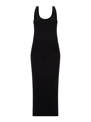Paco Rabanne buttoned-back cotton-blend ribbed knit dress